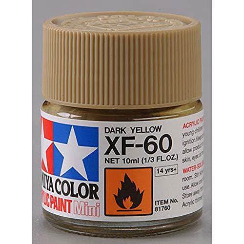 Tamiya 81760 - Pintura Acrílica Mini, Mate Amarillo Oscuro Frasco de 10 ml, XF-60