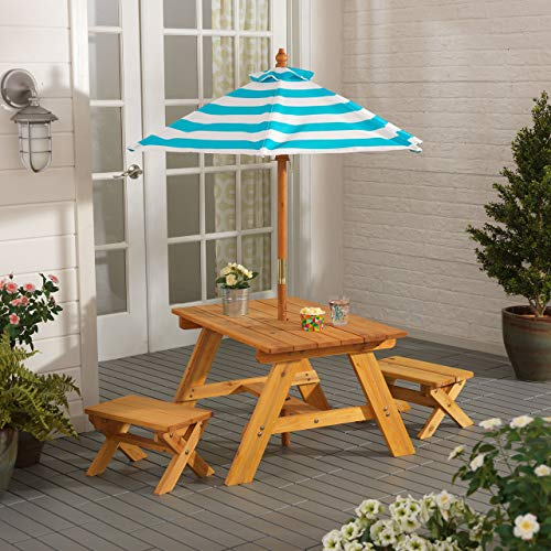 KidKraft KidKraft Wooden Outdoor Table & Bench Set with Striped Umbrella, Children's Furniture –...