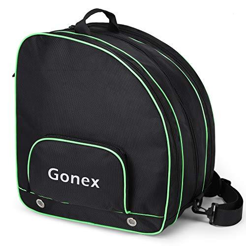 Gonex Bolsa de patines de hielo, bolsa de patinaje en línea, bolsa de patinaje de esquí, bolsa con múltiples bolsillos para patinaje sobre hielo, casco, equipo de protección para niños y adultos
