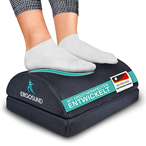 ERGOSUND® Fußstütze Schreibtisch - Premium Schaumstoffkern - Höhenverstellbare Fußbank [rutschfest] - Ergonomische Fußablage für das Büro & Home Office - Mit Ergotherapeuten entwickelt