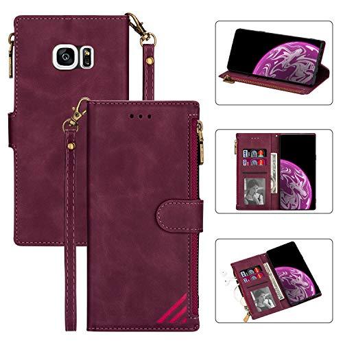Snow Color Galaxy S7 Hülle, Premium Leder Tasche Flip Wallet Case [Standfunktion] [Kartenfächern] PU-Leder Schutzhülle Brieftasche Handyhülle für Samsung Galaxy S7/G930F - COCSJ030242 Rotwein