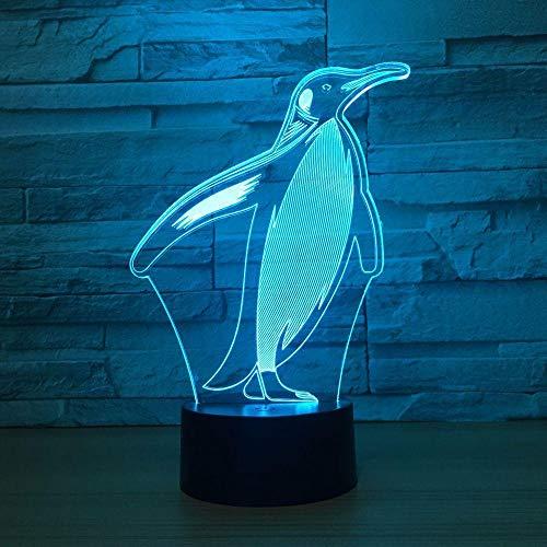 WAGUZA 3D Penguin Illusion Lámpara colorida Lámpara de mesilla de noche Lámpara de mesa Lampen Interruptor táctil remoto USB Lampe Bombilla LED Bombilla para regalo de niño