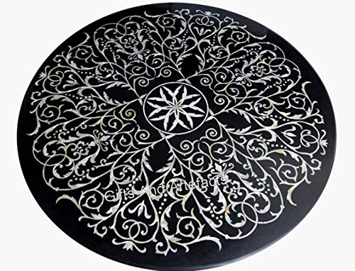 Mesa redonda de mármol negro con mesa de comedor hecha a mano de arte de mosaico de Indian Cottage Handicrafts de 60 pulgadas