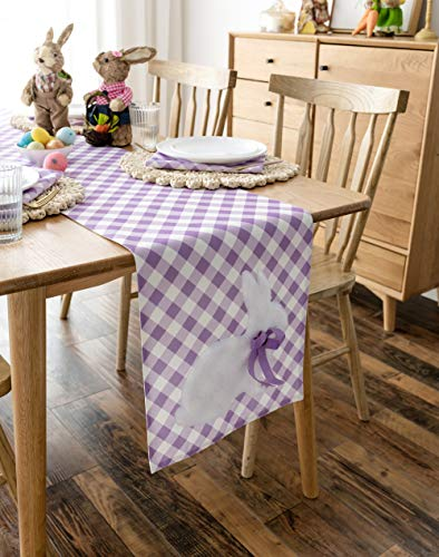 Cassiel Home Happy Easter Bunny Table Centerplace Easter Kids Egg Party Tabletop Decoration Spring Rabbit Buffalo Check Hop Table Runner 14x72