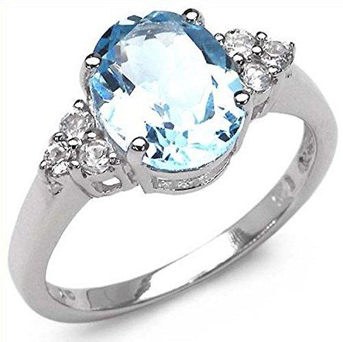 Blau-Topas/White-Topas-Ring-925 Sterling Silber-3,55 Karat-Gr.60