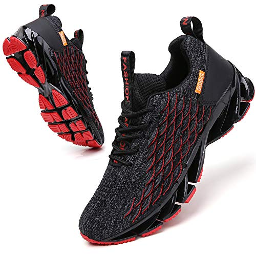 SKDOIUL Men Sport Running Sneakers Tennis Athletic Walking Shoes mesh Breathable Comfort Fashion Runner Gym Jogging Shoes Black red Size 9.5
