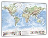 J.Bauer Karten Mappa Fisica del Mondo, 120x80 cm, con Bandiere, in Inglese, Edizione 2017