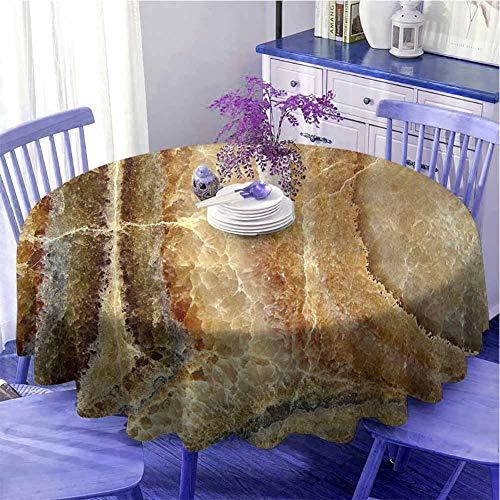 Mármol redondo mantel personalidad Onyx piedra superficie patrón bandas variedad capas diferentes imágenes decoración vacaciones diámetro 59 pulgadas arena marrón canela