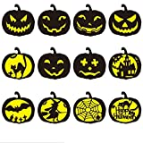 Hillento 12 unidades de Halloween calabazas plantillas shape, bricolaje molde calabazas decorativas de diseño - embarcaciones de plástico reutilizable para la pintura del arte dibujo