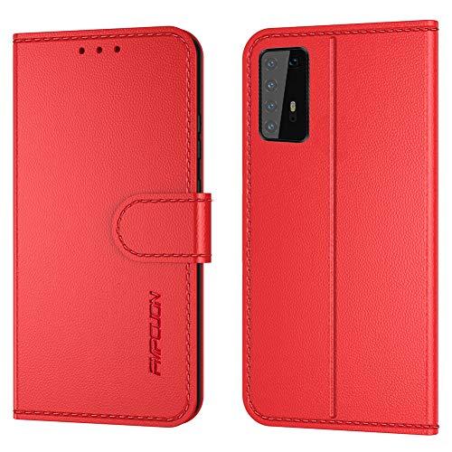FMPCUON Handyhülle Kompatibel mit Huawei P40 Pro(Neueste),Premium Leder Flip Schutzhülle Tasche Case Brieftasche Etui Hülle für Huawei P40 Pro(6,5 Zoll),Rot