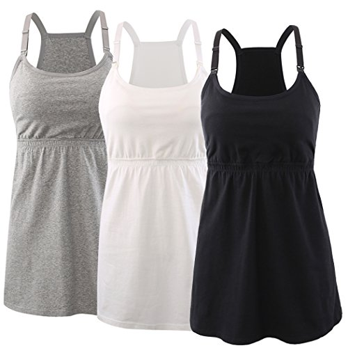 KUCI Maternity Nursing Top Tank Cami, Women Mateniry Nursing Sleep Bra Breastfeeding Tops for Pregnancy (XL, Black+Grey+White/3Pack)