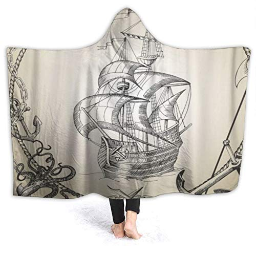 HARXISE Tragbare Hoodie Decke,Old Caravel Vintage Piraten Segelboot Gemälde...