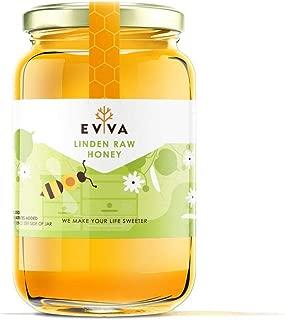 EVVA 100% Pure Raw Honey - Top Quality Organic Honey - Pure Honey in a Glass Jar - USDA Certified Unfiltered Honey - 100 % Natural Honey - Moldova Wild Honey (Linden Raw Honey, 33 Ounce)