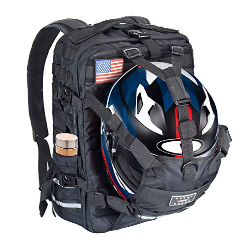 Sresk Water-Resistant 26L Molle Motorcycle Helmet Holder/Cycling Helmet Storage/Hiking Helmetcatch Bag/Backpack Daypack (Black)