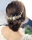 Edary Diadema de novia de la vid de la boda de la vid de oro de la flor de la diadema de la perla accesorios para el pelo