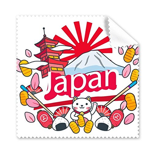 Japan Cultuur Leuke Kleurrijke Tempel Lucky Cat Fan Sakura Petal Sushi Fuji Lantaarn Handgedecoreerde Illustratie Patroon Glazen Doek Schoonmaken Doek Telefoon Screen Cleaner 5 stks