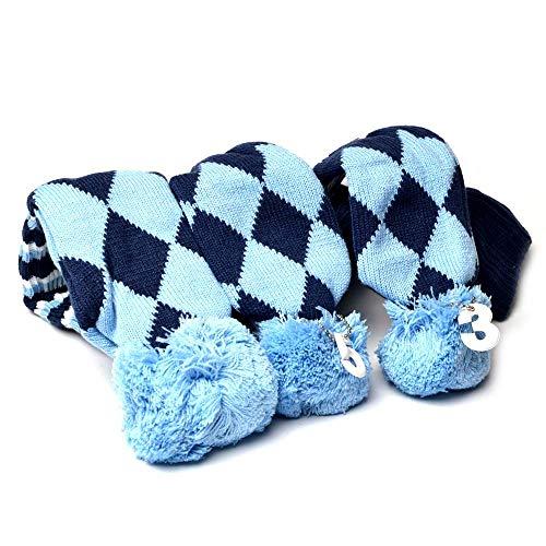 Fahrer, Fairway Woods, Hybriden 3American Flagge Pom Pom-Socken-Set Vintange Knit Universal Golf Head Cover passen für alle Golf Marken Taylormade, Cobra, Nike Titleist, Callaway, Ping,, E-Sku Blue
