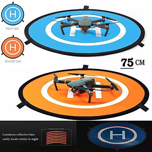 iMusk Drone e Quadcopter Landing Pad 30 Pollici (75 cm) RC Aircraft Soft Superficie di Atterraggio in Gomma Impermeabile Ecologica per DJI Mavic Phantom 3 4 Spark Mavic PRO (75 CM)