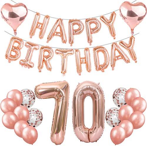 Feelairy Juego de decoración para fiesta de 70 cumpleaños de color oro rosa, globos gigantes con el número 70, guirnalda de globos para el 70 cumpleaños para mujeres y niñas