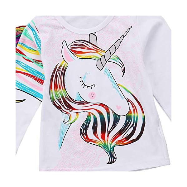 Toddler Kid Baby Girls Tassel Fringe Unicorn Tee Long Sleeve Tops T- Shirt 6