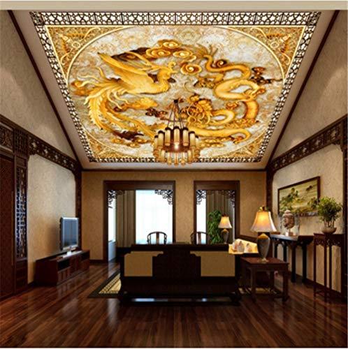 Hintergrundbild Wandsticker Wandtattoo Wanddekorationfototapete Benutzerdefinierte Chinesischen Drachen Phoenix Hd Wandbild Wohnzimmer Hotel Büro Halle Decke Tapete, 150 * 105 Cm