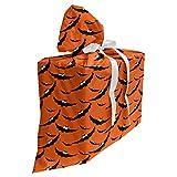 ABAKUHAUS Víspera de Todos los Santos Bolsa de Regalo para Baby Shower, Los murciélagos volando Repetición, Tela Estampada con 3 Moños Reutilizable, 70 cm x 80 cm, naranja gris