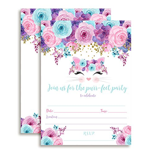 Kitty Cat Face with Pink Blue and Purple Watercolor Flowers Birthday Party Invitations for Girls, 20 5'x7' Fill In Cards with Twenty White Envelopes by AmandaCreation