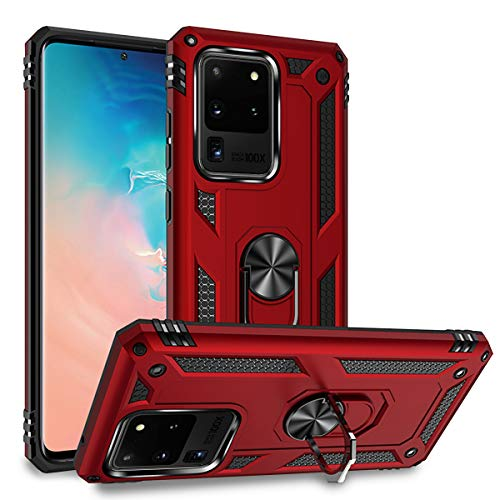 Newseego Compatible with Samsung Galaxy S20 Ultra Case(6.9inch), Armor Dual Layer 2 in 1 and 360 Degree Rotating Metal Ring Holder Kickstand & Shock & Scratch Support Shockproof Hard Cover –Red
