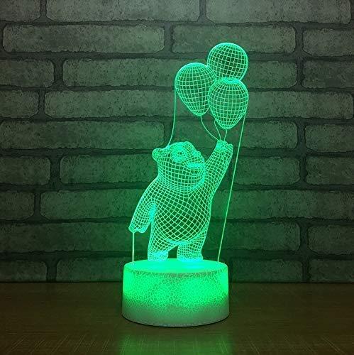 SFSF Nuit Light Touch LED Vue 3D Lampe de Bureau Cartoon USB 7 Couleurs Little Bear Lampe Ballon décor de Nuit de Sommeil pour Les Cadeaux d'anniversaire de Nuit
