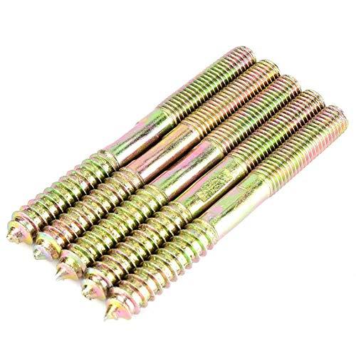 M10 Stockschrauben Dübelschraube Eisen Doppelseitige Schraube Verzinkung Gewindeschraube Holz auf Holz Dübelschraube Verbindung Holz (10 * 100mm 5 stück)