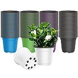 AQSXO 4 inch Nursery Pots, Plastic Plants Nursery Pot, for Plants Flower Transplanting 30 Pcs. Five Colors (Black, White, Blue, Green, Purple)