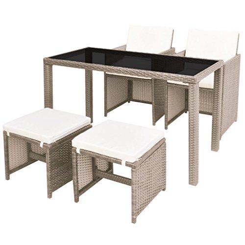 Festnight 11-teilige Garten Essgruppe Polyrattan Glas-Tischplatte Gartenmöbel-Set Tisch Stuhl Sitzgruppe mit 1 Gartentisch + 2 Gartenstühle + 2 Hocker + 6 Kisssen für Garten Terrasse
