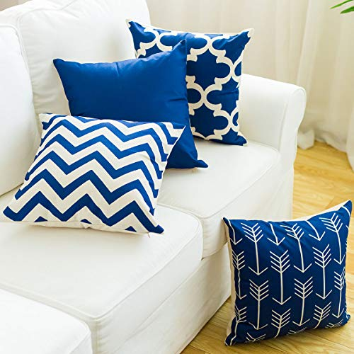 Pillow Covers 18X18,Throw Pillow Covers Modern Simple Geometric Style Cotton Linen Burlap Square Decorative Throw Pillow Covers for Sofa Couch Chair Farmhouse Home Decor Car