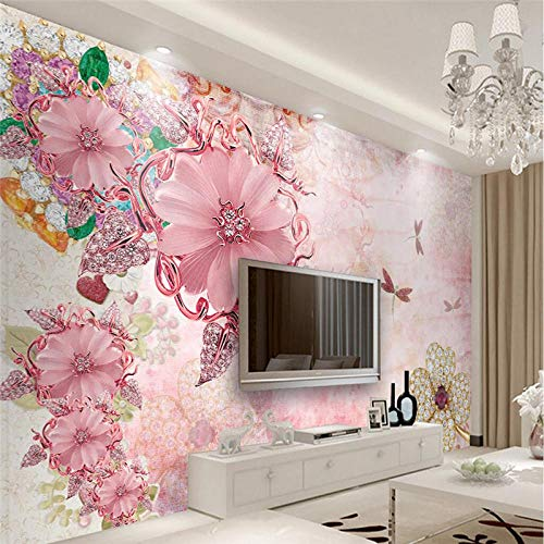 ZHANGOO Custom Wallpaper 3D Fresco Pink Jewelery Flower TV Wall Background