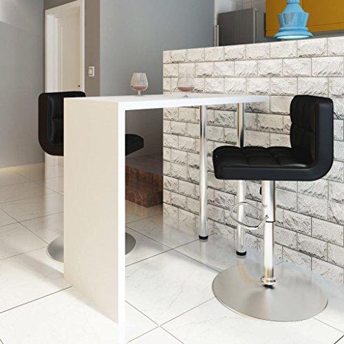 Lingjiushopping salontafel met 2 poten, wit, materiaal: MDF (plaat en zijkanten) + staal (poten)