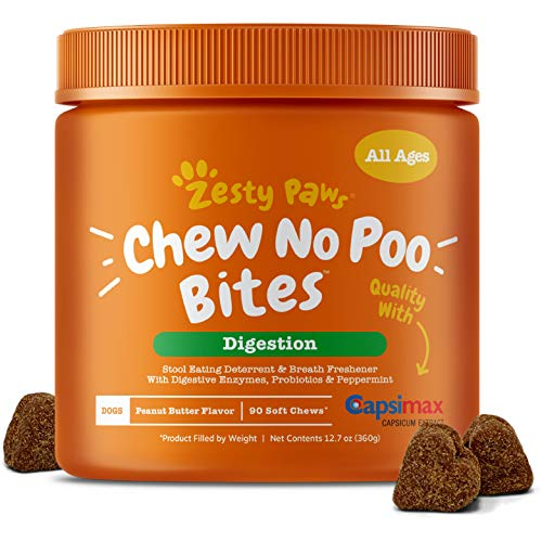 Zesty Paws Chew No Poo Bites - Coprophagia Stool Eating Deterrent for Dogs - Deter & Stop Dog from Eating Feces - Probiotic & Digestive Enzymes - Peppermint Breath Freshener Supplement - 90 Soft Chews