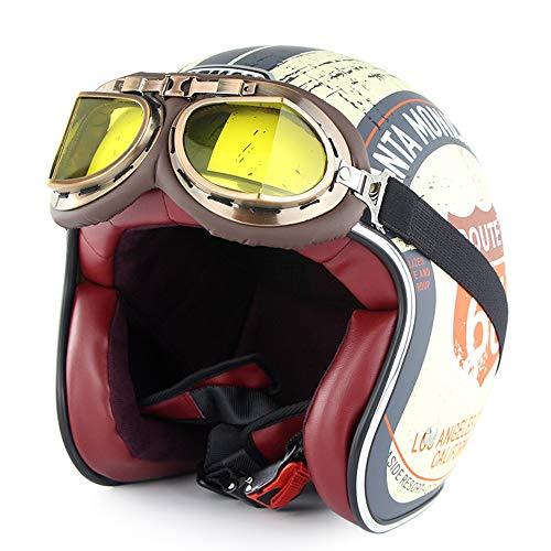 SOMAN Certificación Dot (Route 66) 3/4 Cara Abierta Motocicleta Casco Vintage Harley Cascos Chopper Bike Casco con Gafas de Sol Visera (Amarillo Claro),L(58~59cm)