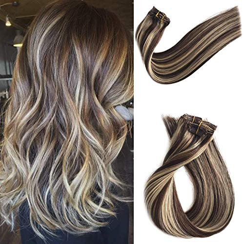 Human Hair Extensions Clip in Double Weft Balayage Clip on Real Remy Hair Extensions Dark Brown with 613 Bleach Blonde Highlights Hair Extensions Glueless Silky Staright 70G 7pcs 16 Clips 20 Inch