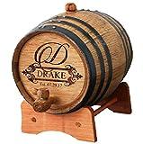 Personalized Whiskey Barrel - Engraved Wine Barrel - Custom Oak Mini Cask - Fancy Design (1 Liter Barrel)