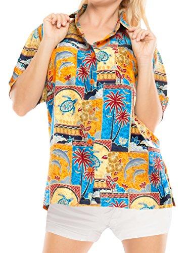LA LEELA botón Camisa Hawaiana Blusa Playa Mujere Cuello Manga Corta árbole Palma impresión Traje de baño Partido XXL-ES Tamaño-50-52 Amarillo_W999