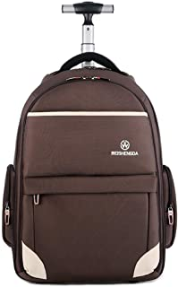 Trolley Backpack, Storage Wheeled Rolling Waterproof Travel Bag, Boy Travel School Laptop Bag (Color : Brown, Size : 21 inches)
