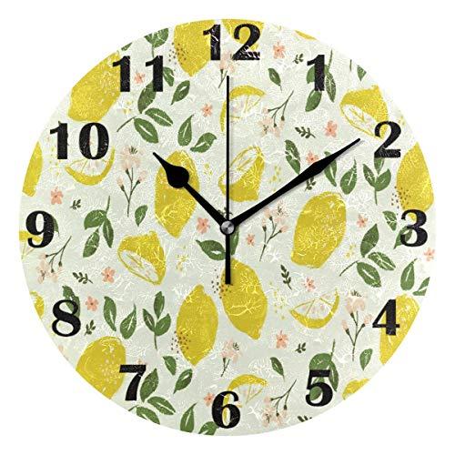 Brillante verano limón pared reloj silencioso fruta fruta flores hojas flores relojes...