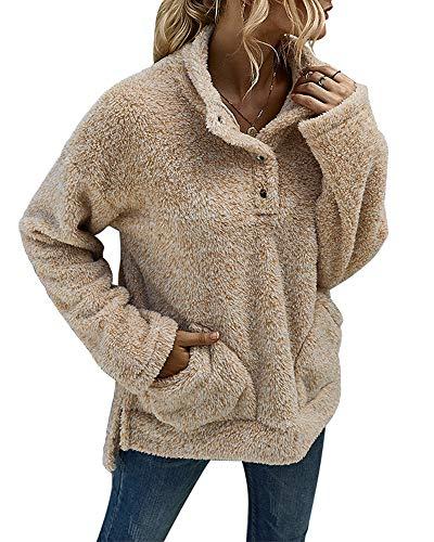 Ybenlover Pullover Damen Fleece Sweatshirt Teddy Plüsch Hoodie mit Taschen Rollkragen Pulli (M, Khaki)