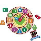 Melissa & Doug Shape Sorting Clock Bundled with 1 M&D Scratch Art Mini-Pad Bundle (08593)