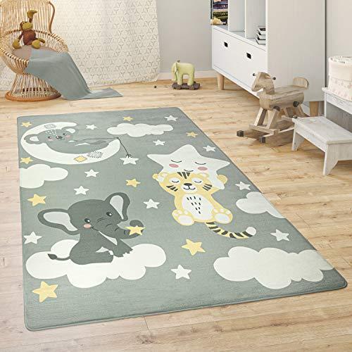 Paco Home Alfombra para Habitación Infantil Juegos Bebé Animales Arco Iris Corazón, tamaño:155x230 cm, Color:Gris 2