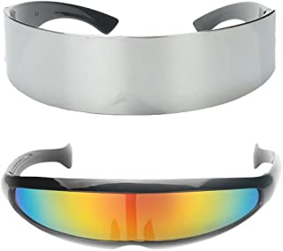 HOMYL 2 Pieces Novelty Metallic Silver Narrow Rainbow Space Robot Party Eye Glasses Future Soldier Sunglasses Unisex Photo Prop Goggles