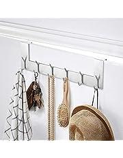 Ecooe Set van 2 deurhanglijsten, roestvrij staal, afneembare kledinghaken zonder boren, met 6 haken, haaklijsten voor deurdikte tot 2 cm