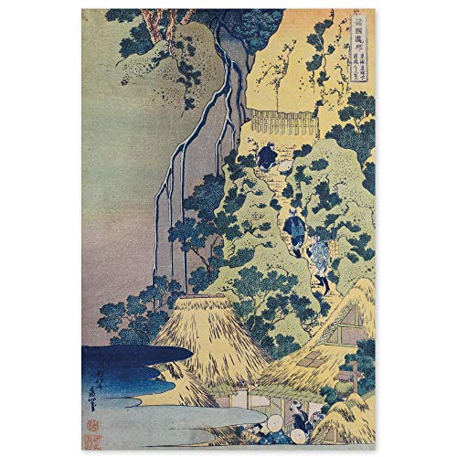 JUNIWORDS Poster, Katsushika Hokusai, Reisende beim Aufstieg eines steilen Berges, um einen Schrein in einer Höhle bei einem Wasserfall aufzusuchen, 20 x 30 cm
