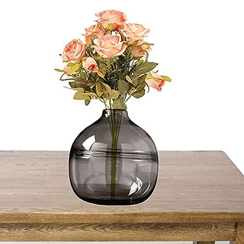 LXLAMP Jarron Cristal Grande Decoracion, Jarron Grande de Suelo florero Cristal Jarrones de Flores, Elegante Decoración para la Decoración del Escritorio - Altura 20 cm (Color : Gray)