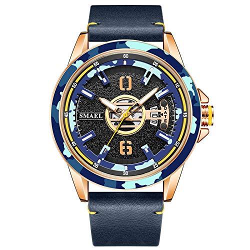JTTM Relojes Militares para Hombre Reloj Deportivo De Cuero De Cuarzo Impermeable con Fecha Informal,Blue Gold